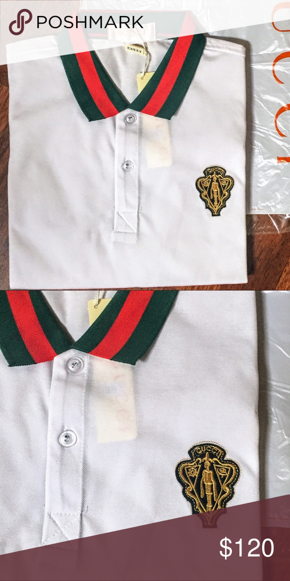 f326f994 NWT Men's White Gucci Polo • L/XL Brand new polo with the signature red