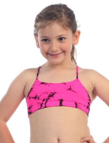 668ddfc877 Pink Black Kids Child Tie Dye Bra Top Dance Nylon Sports Gymnastics ...