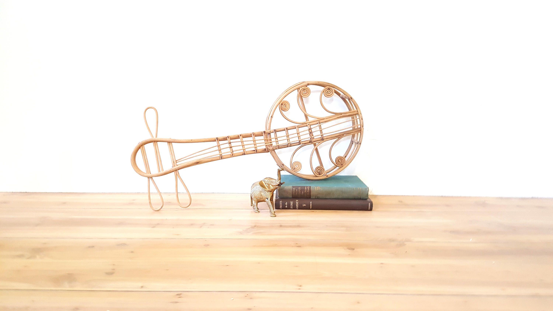 Vintage Rattan Banjo / Ukulele ~ Boho Wall Decor ~ Musical ...