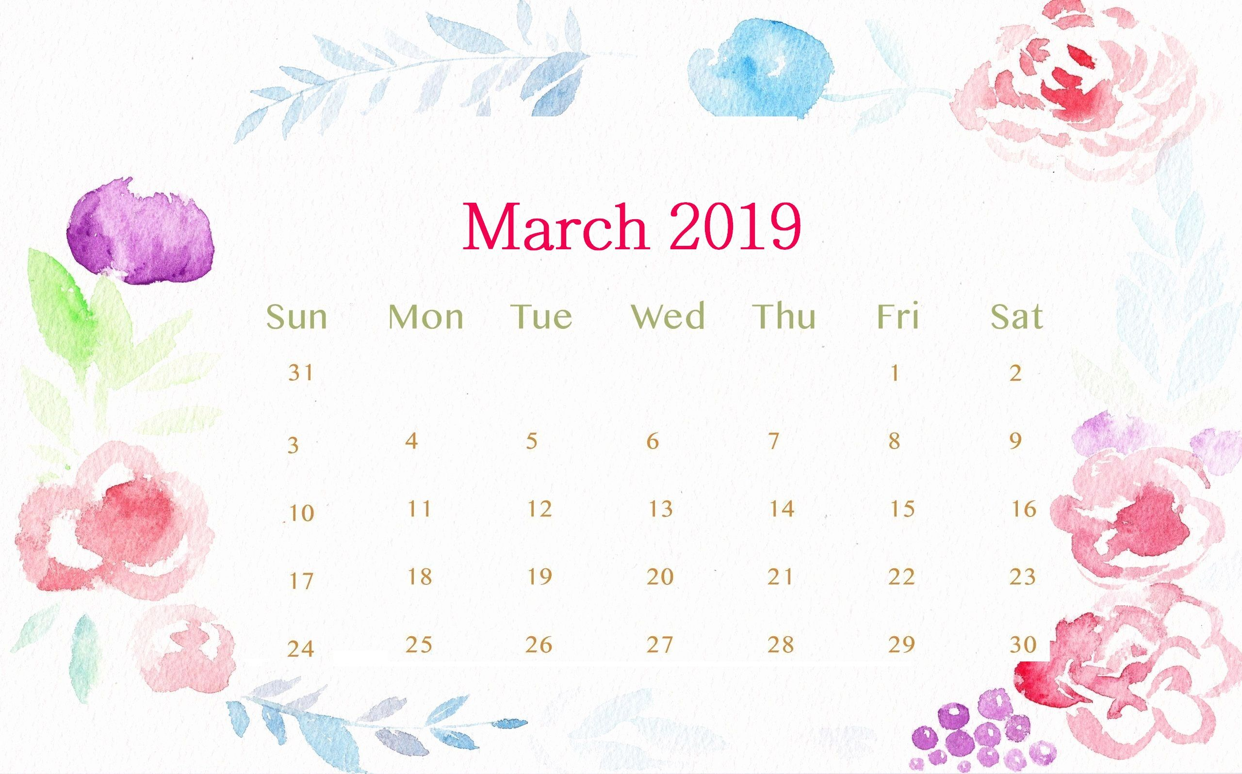 March 2019 Desktop Calendar Calendar Wallpaper Desktop Calendar Calendar Design