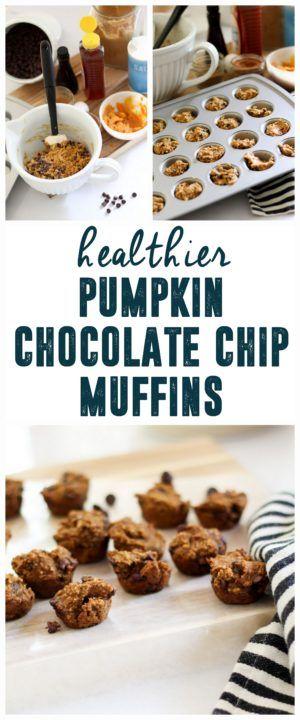 Healthier Pumpkin Chocolate Chip Muffins www.BrightGreenDoor.com