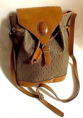 Ysl Yves Saint Laurent Logo Vintage Leather Canvas Drawstring Brown Bag Purse Purses And Bags Brown Bags Vintage Leather