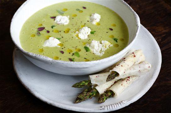 asparagus soup with crisp asparagus rolls @ britishlarder.co.uk