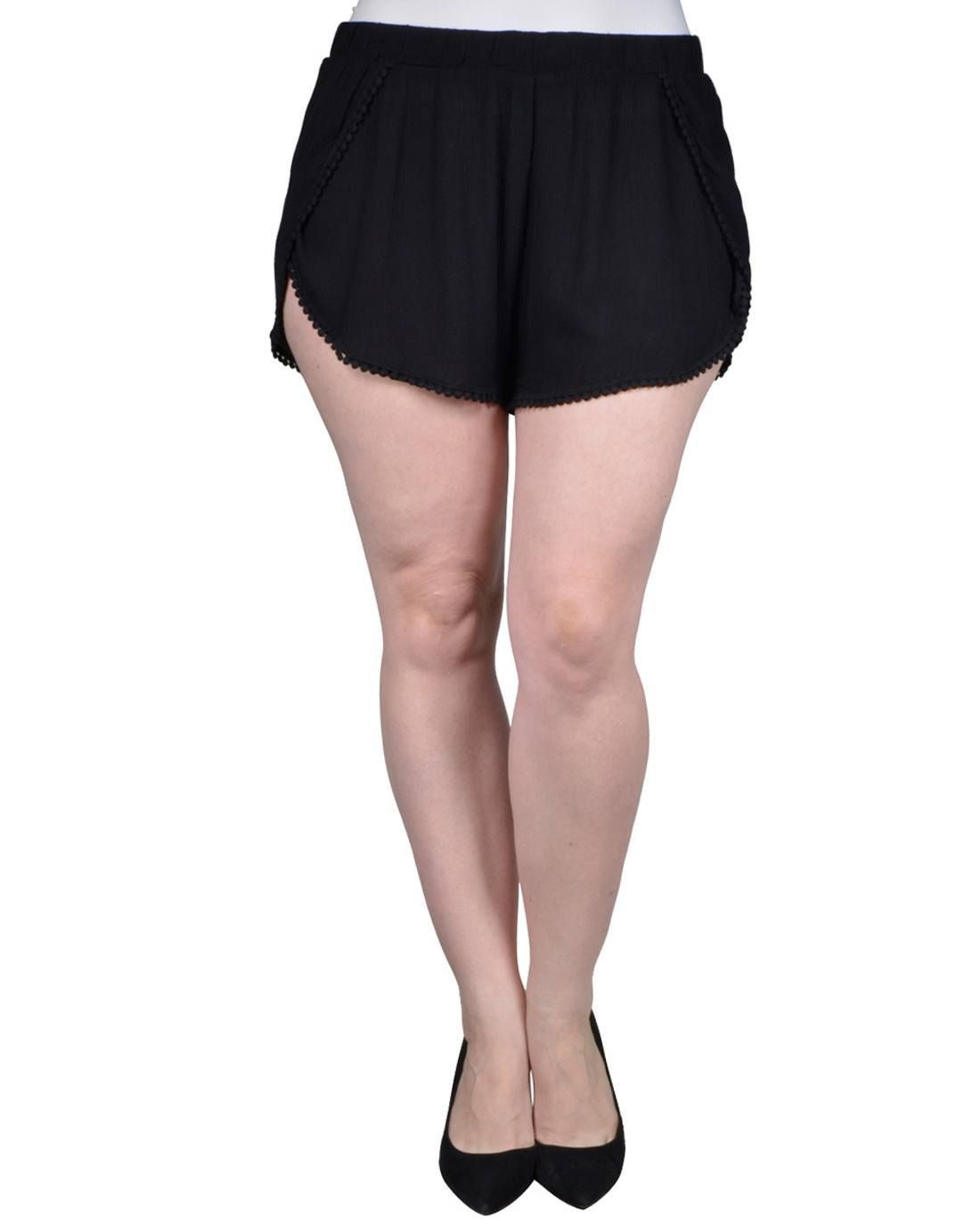 a32f81aab8f Plus size woven dolphin shorts featuring crochet trim and an elasticized  waistband