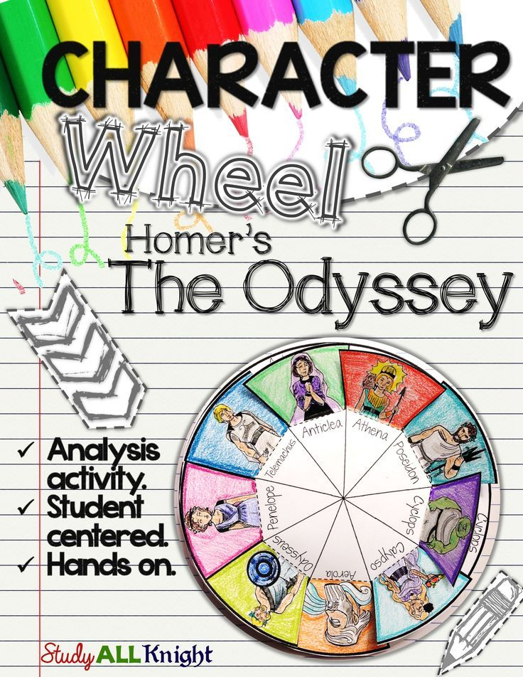The Odyssey Character Wheel Interactive Notebook Activity High