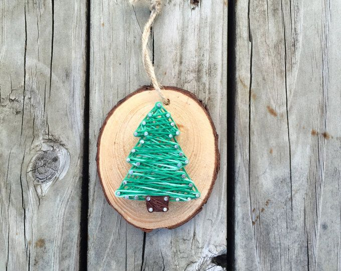 Unique Tree Ornament, Ornament Gifts, Tree Gifts, Wood Slice Ornament, String Art, Custom Ornament, Woodland Ornament, Tree Ornament