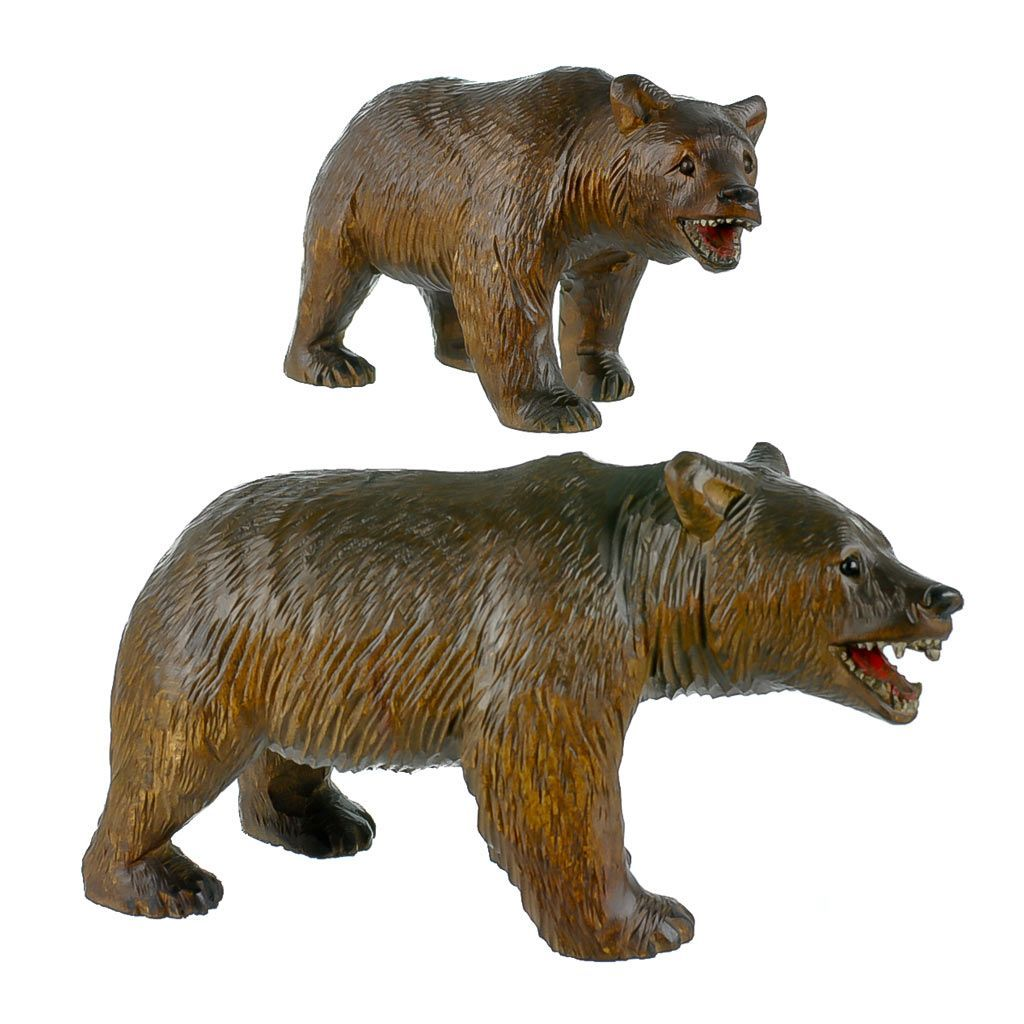 Two antique black forest strolling bears hand carved in switzerland