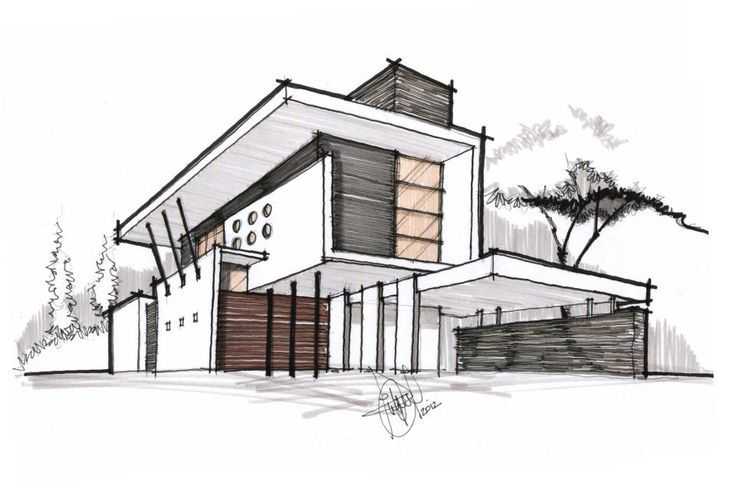 Architectural Sketch With Nice Border Lines Architecture