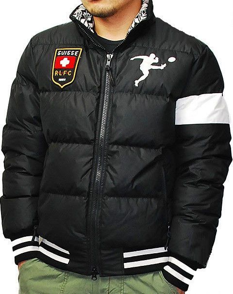 Polo Rugby Ralph Lauren Rrl Black Puffer Down Suisse Swiss Patch Jacket Rare