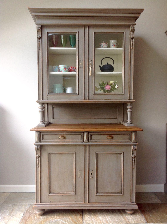 antique french painted pine grey glazed welsh dresser larder cupboard kitchen unit annie sloan french linen victorian - Antique Cupboard