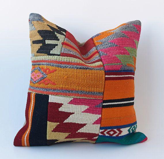 Vintage Turkish Kilim Pillow Cushion 16 X 16 by TurkishCraftsArts