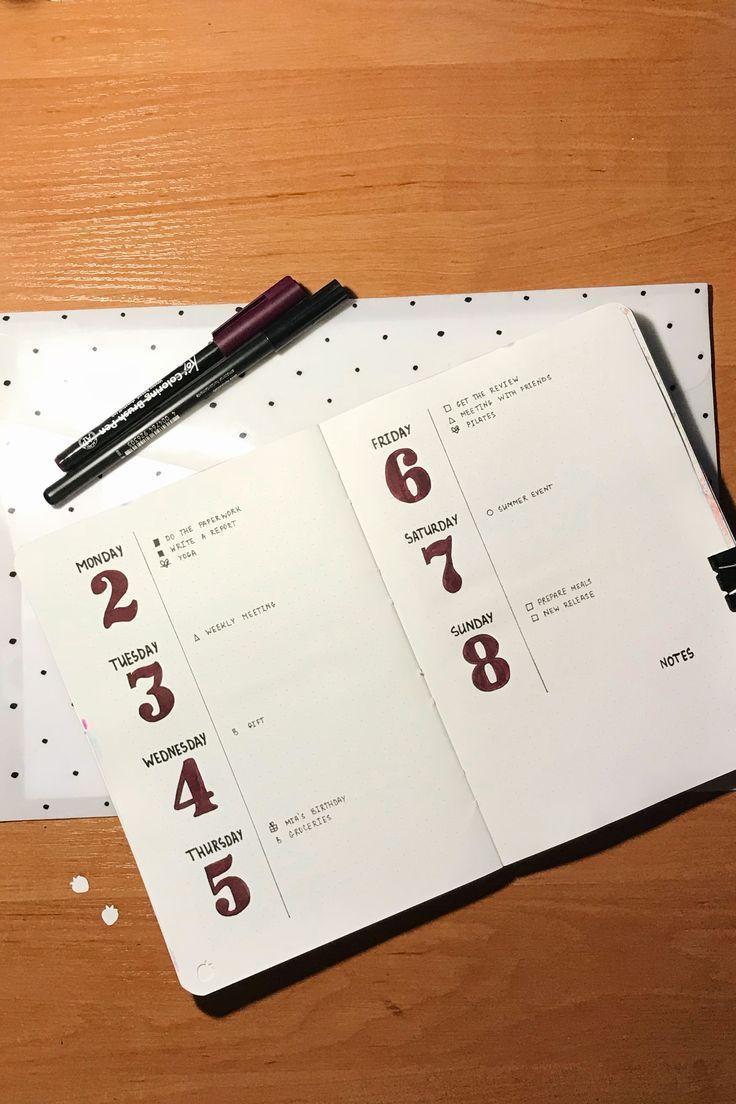 Minimalistische wöchentliche Verbreitung | Bullet Journal - #Bullet #Journal #m...