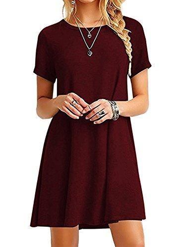 79f0c0623c6 Comprar Ofertas de SANDALUP - Mujer Ocasional Vestido de la Camiseta Manga  Corta 7 colores Vino Rojo S barato. ¡Mira las ofertas!
