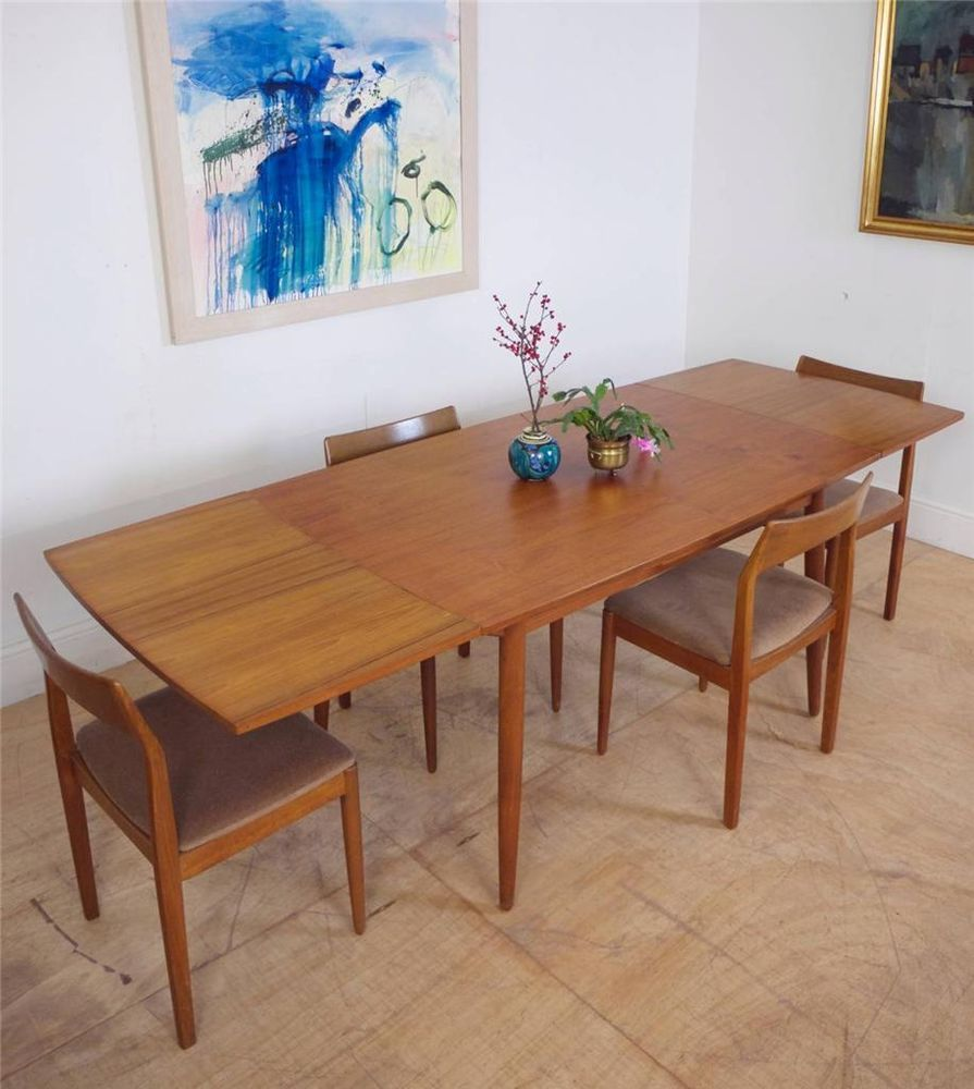 Mid Century Danish Vejle Extending Dining Table & Set of 4 Chairs Seats 10 in Antiques, Antique Furniture, Tables
