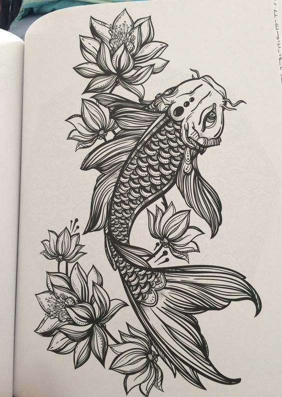 Photo of Thigh Tattoos Color Ideas #KoiFishColors