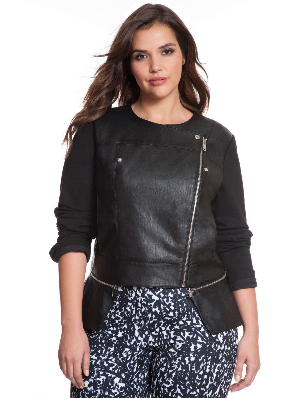 Studio Zip Detail Moto Jacket   Women\'s Plus Size Jackets   ELOQUII ...