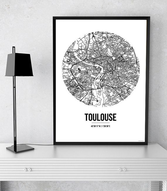 affiche toulouse france street map city map poster de ville d coration murale plan de ville. Black Bedroom Furniture Sets. Home Design Ideas
