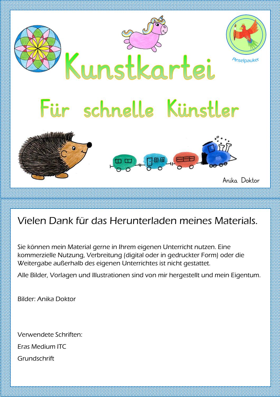 Kunstkartei Fur Schnelle Kunstler Unterrichtsmaterial Im Fach Kunst Kunst Fur Grundschuler Kunst Kunst Grundschule