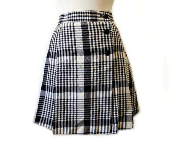 dd091b21b3 Vintage 80s Plaid Mini Skirt Black White Wrap S | Products in 2019 ...