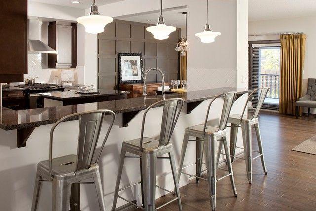 Sabal Homes Kitchens Tolix Bar Stool Espresso Cabinets Granite Counters Granite Kitchen Counter Bar Stools Modern Kitchen Bar Modern Bar Stools Kitchen