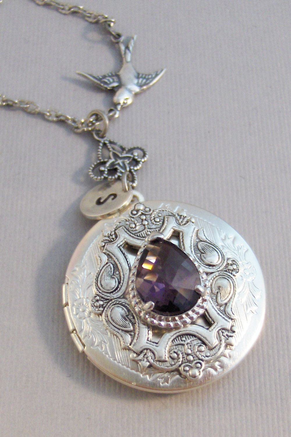 the amethyst guilloche products crop mm round locket tree lockets vmb