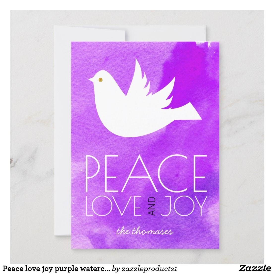 Peace love joy purple watercolor & dove Christmas Holiday