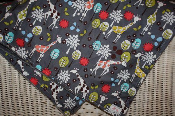 Giraffe Garden with Minky Blanket by DesignsbyChristyS on Etsy, $40.00