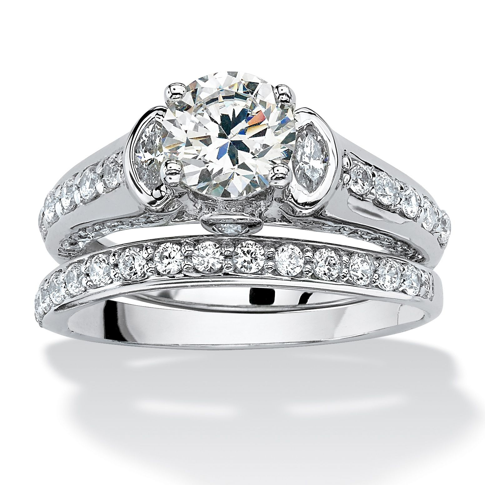 2 Piece 2 67 Tcw Round Cubic Zirconia Bridal Ring Set In Platinum Over Sterling Silver On Palmbeach Jewel Wedding Rings Round Jewelry Bridal Ring Set