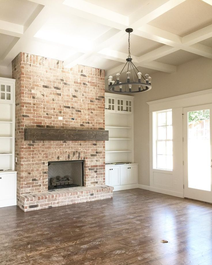 Mantle Color And Style For Living Room Side Beautiful Brick Fireplace With White Builtins And Coffered Ceiling