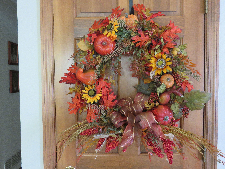 Fall Foliage Wreath Autumn Wreath Harvest Wreath Festive fall decor Country Fall Wreath Fall Wreath fall home decor Gourd Wreath