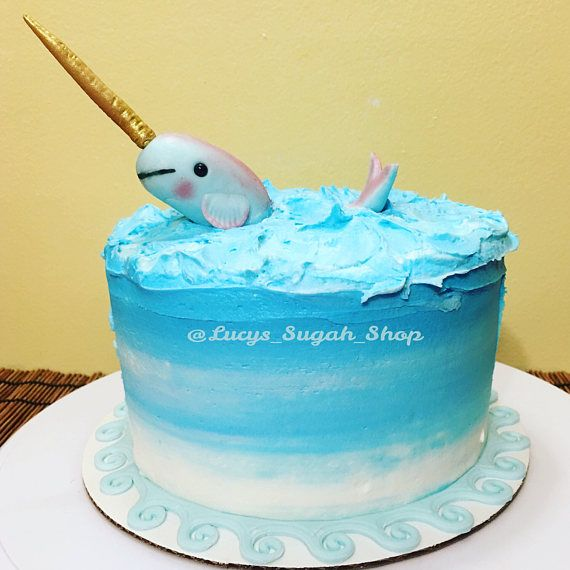 2 Pc Set Narwhal Fondant Cake Topper In 2019 Products Pinterest