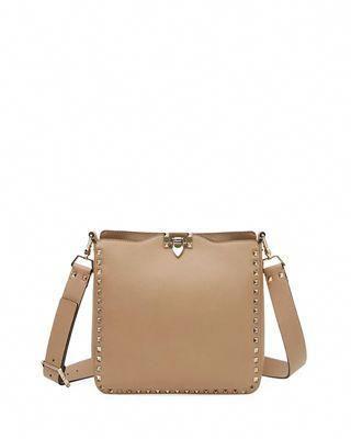 Valentino Garavani Rockstud Small Vitello Leather Hobo Bag  Valentino 2e9eaf227ac0c