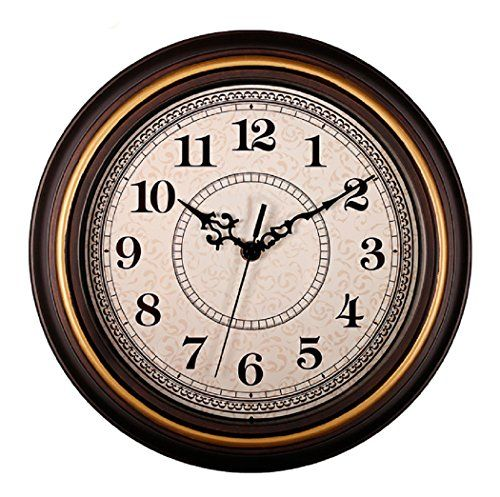 Sonyo Silent Nonticking Round Contemprary Wooden Wall Clocks 12 Inches Decorative Vintage Stylegoldenrim Antique Wall Clocks Retro Wall Clock Wall Clock Silent