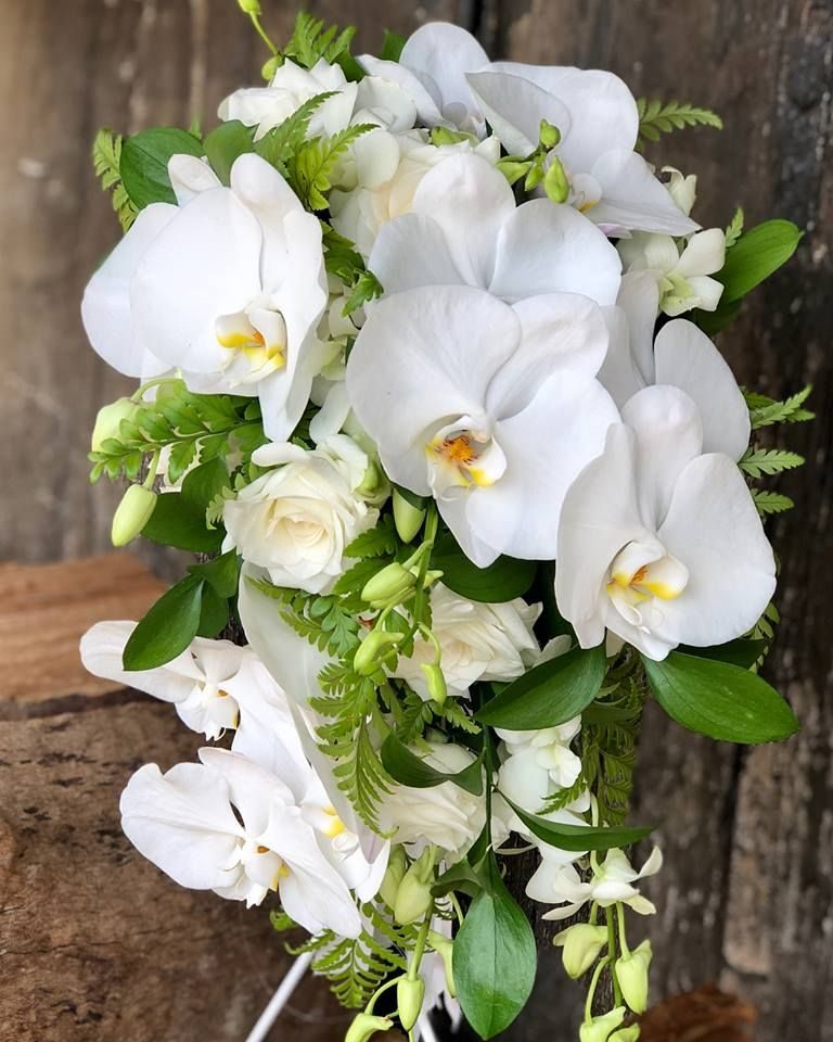Trailing Bridal Bouquet Of Orchids And Roses Created By Lovely
