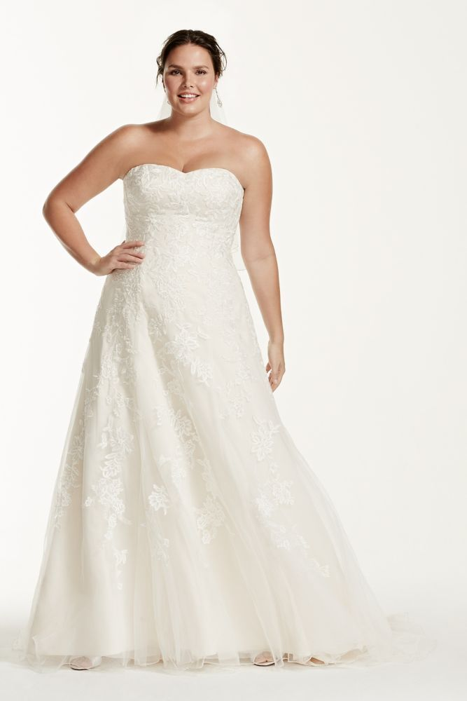 Extra Length Tulle A Line Plus Size Wedding Dress With Lace
