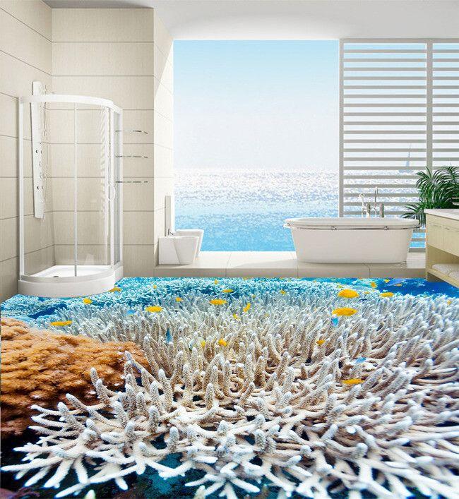d coration d 39 int rieur rev tement sol personnalis mer tropicale les coraux et les poissons. Black Bedroom Furniture Sets. Home Design Ideas