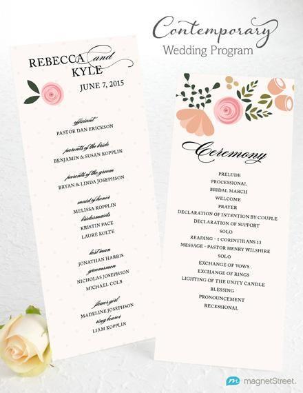 contemporary wedding program wording template from magnetstreet