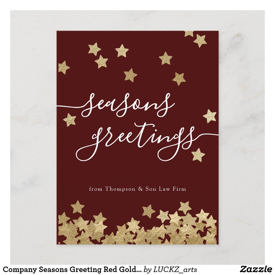 Company Seasons Greeting Red Gold Holiday Postcard Zazzle Com Gold Holiday Holiday Postcards Seasons Greetings Card