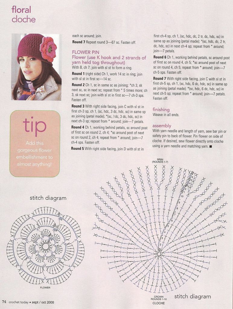 Crochet Floral Hat. Flower and Hat diagram. ☀CQ #crochet #apparel ...