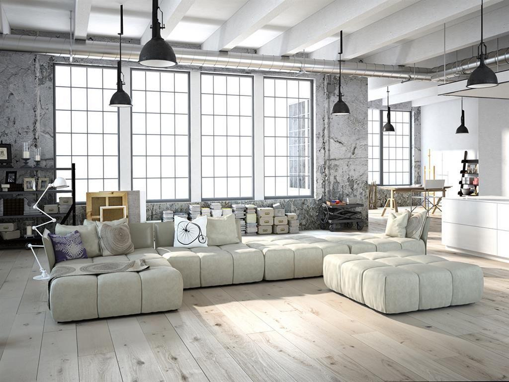Salon Blanc Et Beton Brut Style Industriel Deco Loft Industriel Tapis Design Styles De Decoration Interieure