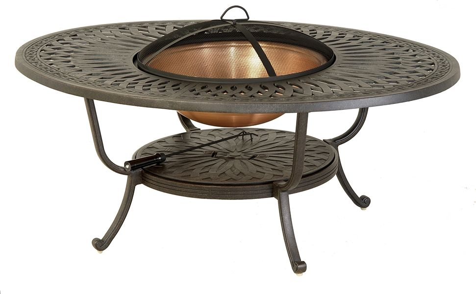 Hanamint Mayfair Outdoor 39 X 52 Oval Fire Pit Table With Copper Bowl Accessories