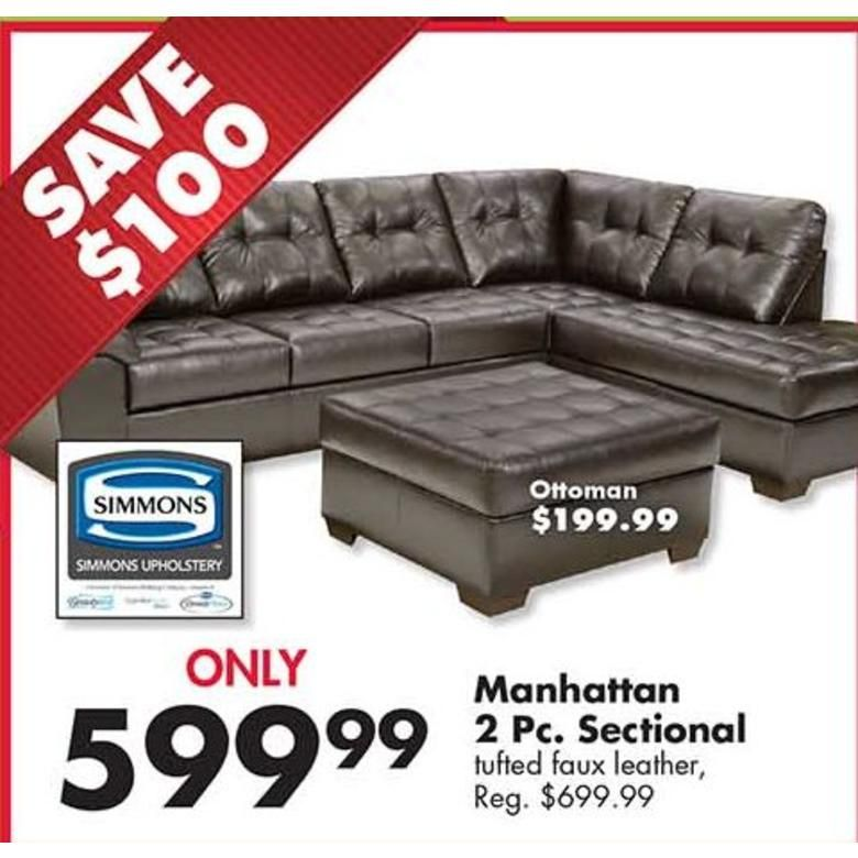 Black Friday Deal Big Lots Black Friday Simmons Manhattan 2 Pc Tufted Faux Leather Sectional 599 99 Faux Leather Sectional Leather Sectional Sectional