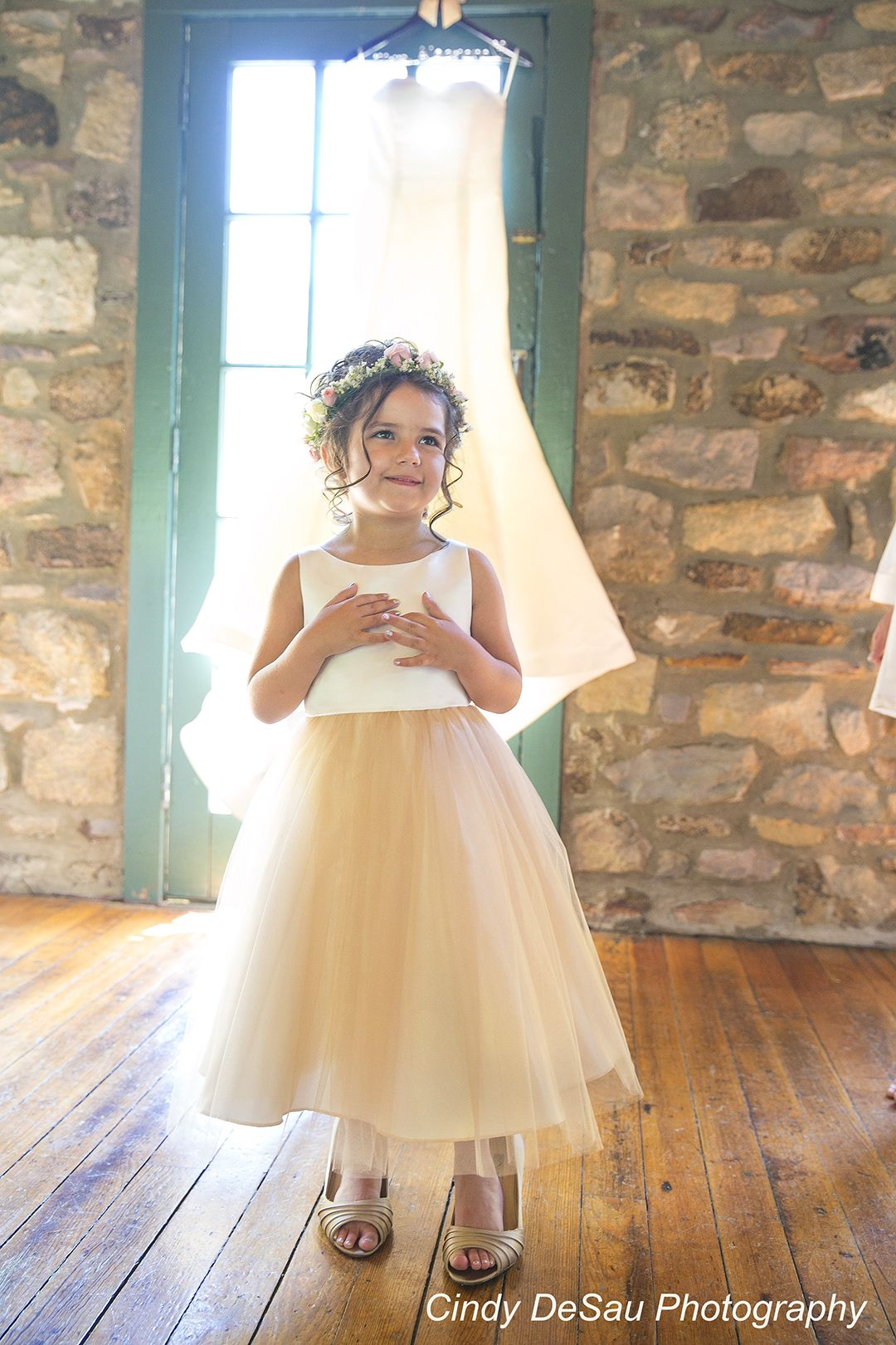 Cutest flower girl tries on the brides shoes holly hedge estate