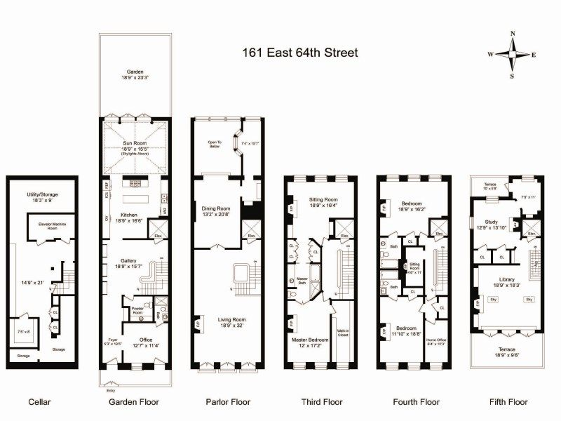 Sotheby S Homes New York Townhouse Architectural Floor Plans Town House Floor Plan