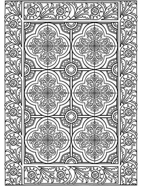 : Decorative Tile Designs Coloring Book