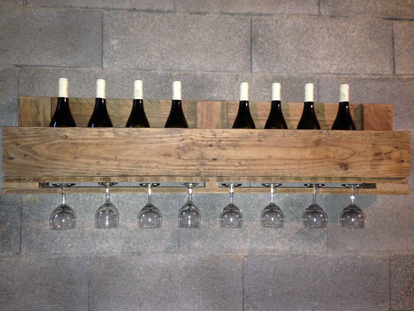 Etag Re Pour Bouteilles De Vin Et Verres Pied En Palette  # Etagere Escalier Bois Palette