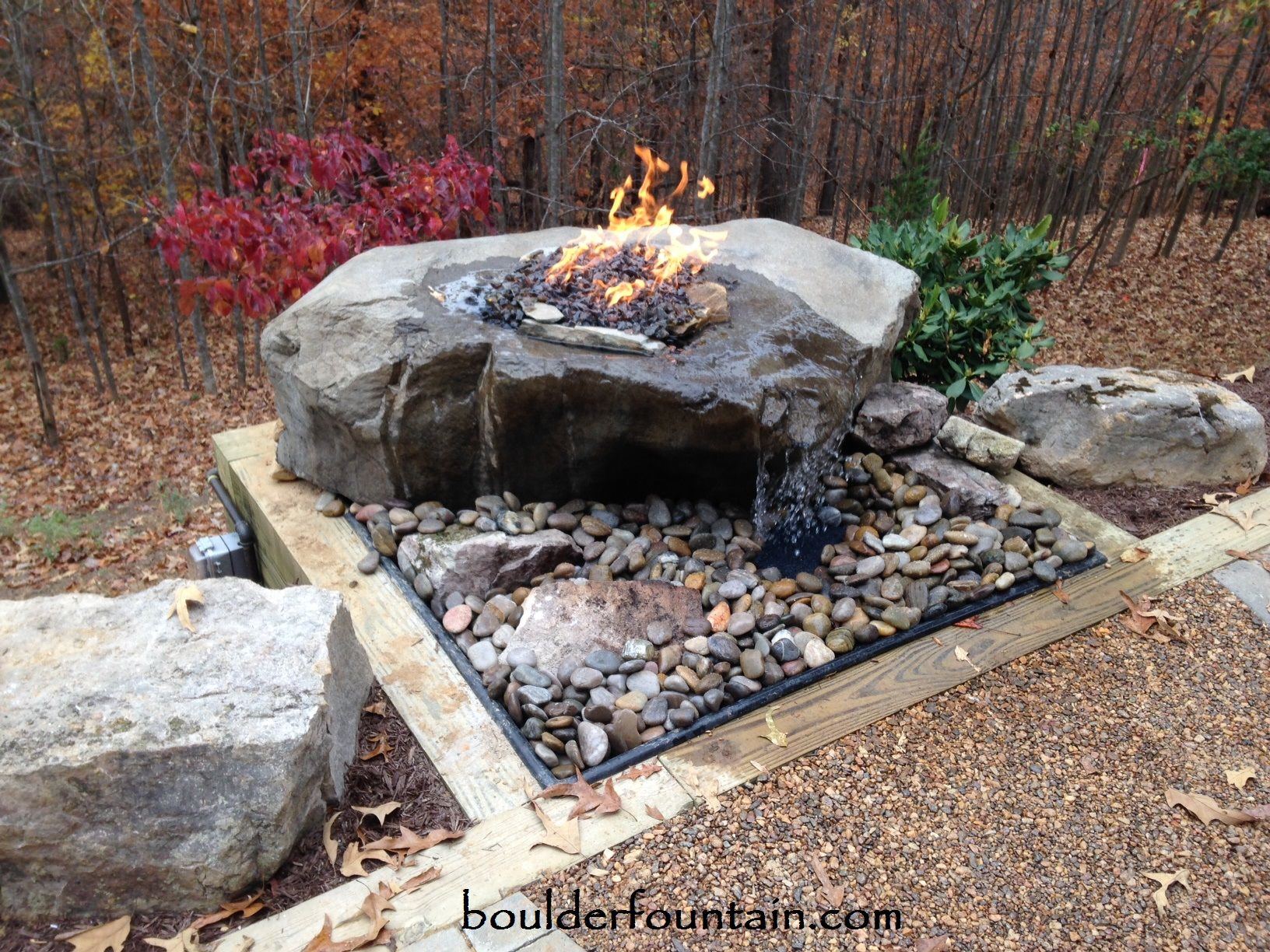 our sliding rock falls boulder fire pit fountain for more info