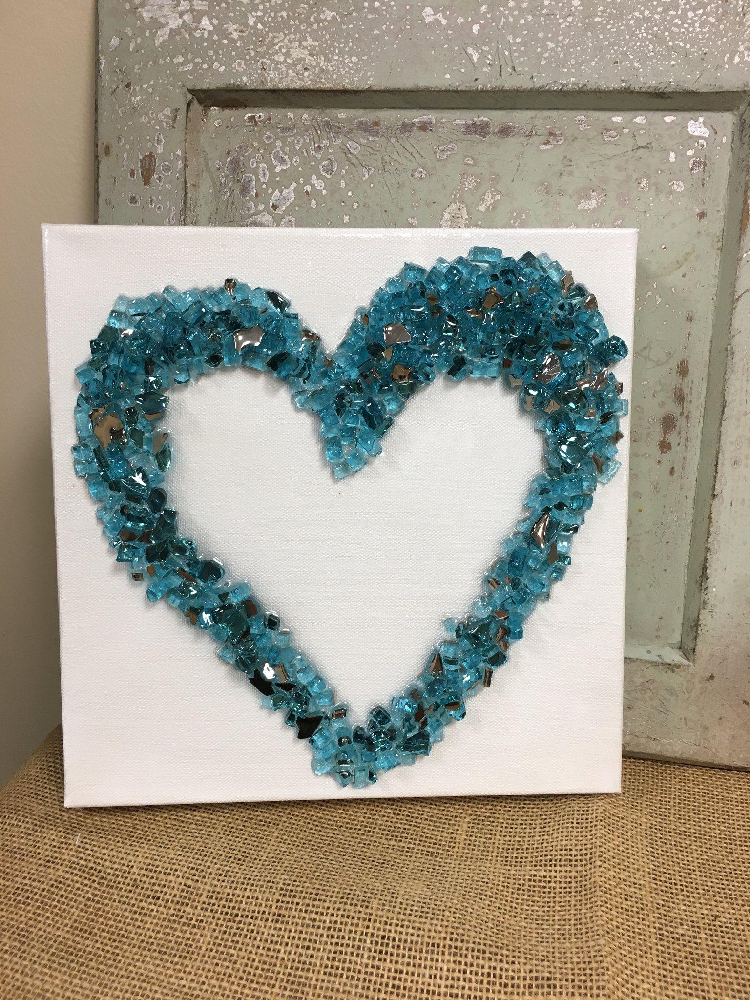 Open Heart 10 X 10 Broken Glass Crafts Glass Art Projects Sea Glass Crafts