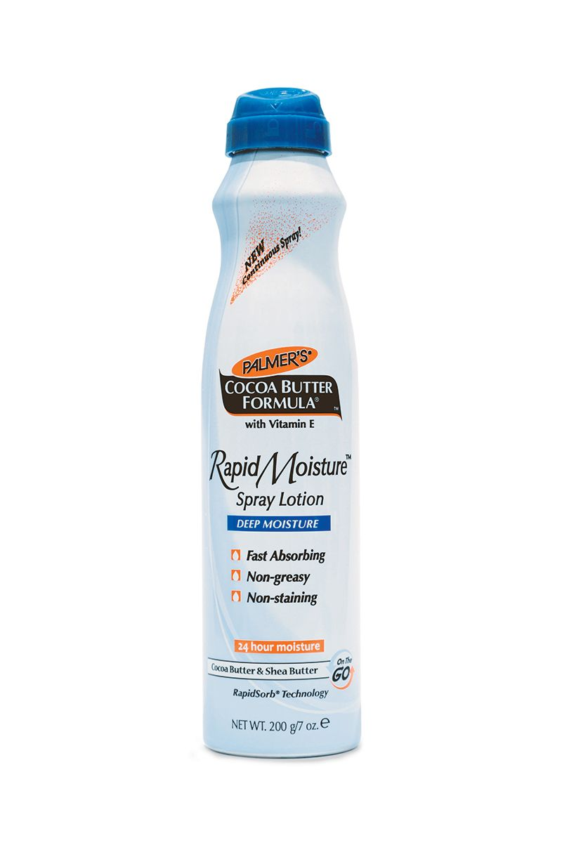 """Palmer's Cocoa Butter Formula Rapid Moisture Spray Lotion- I hate to admit that I am a huge fan of these spray lotions.   Mostly because of the wastefulness of the packaging .  I currently use the Vaseline coco-butter in a similar format but t will add this to my """"to try"""" list since I'm sure it has fewer ingredients."""