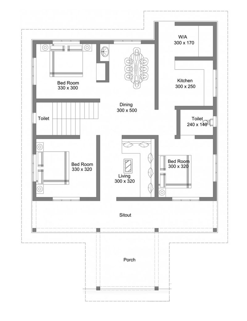 This Beautiful Single Floor House With Roof Deck Can Be Constructed In A Lot Having Square House Plans Bungalow Floor Plans Model House Plan
